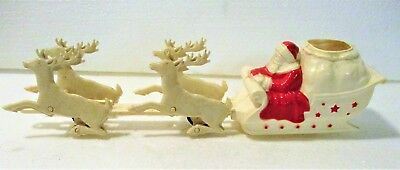 Uncommon 1950's Plastic Friction Moving Deer Santa Sleigh Mint Condition.