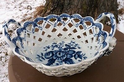 Early Worcester DR. WALL c.1770  PINE CONE - Reticulated BASKET Floral Rosettes