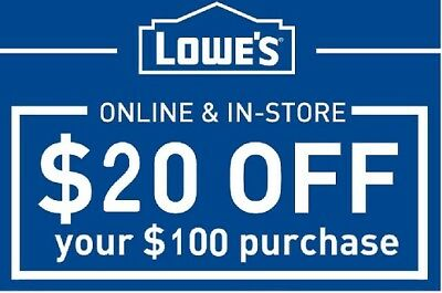 Three (3) Lowe's $20 Off $100 Discount Card - 12-31  Fast Shipping