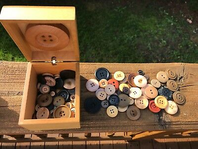 Unusual Handcrafted Wood Button Box With Black & Neutral Colors Sewing Buttons