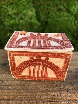 Pottery/Clay Tribal Hand Crafted Hand Painted Jewelry Trinket Box Mexico