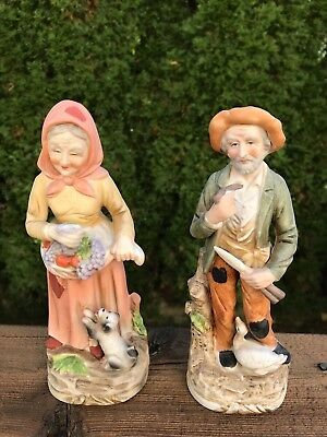 Vintage Figurine 2 Porcelain Old Man with Goose Old Woman with Dog Japan S2042