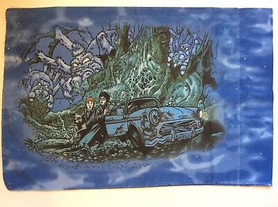 Harry Potter And The Chamber Of Secrets Pillowcase Vtg Flying Car Weasley Blue