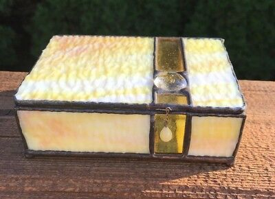 Vintage Yellow Stained Art Glass and Metal Jewelry Trinket Box Hinged Lid
