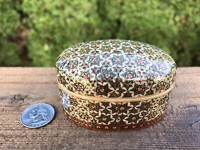 Gift Vintage Wood Oval Jewelry Trinket Treasures Box Decorative Mid-East Pattern