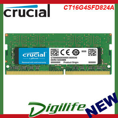 Crucial 16GB DDR4 RAM SO-DIMM DDR4 2400Mhz PC4-19200 Laptop Memory CT16G4SFD824A