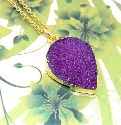 H5473 Sale Purple Natural Agate Druzy Gold Plated Pendant Chain Necklace Jewelry