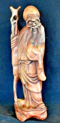 Antique Chinese Carved Burl Root Hard Wood Figure Of Immortal Shoulao