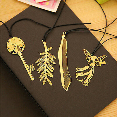4pcs Vintage Key Feather Angel Gold Metal Bookmark Learning Office Supplies P^