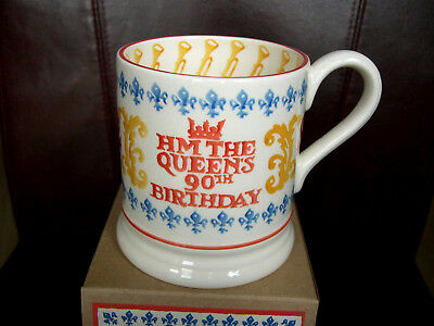 An Emma Bridgewater Mug Queen Elizabeth 90th Birthday Spongeware Half Pint Boxed