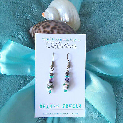 White Handcrafted Earrings with Cloisonne & Purple Swarovski Crystal Beads