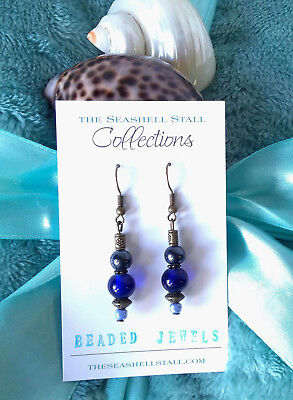 Handmade Earrings with Blue Glass & Antique Bronze Beads