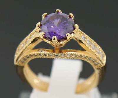 3.48ct Natural Amethyst Solid 14K Yellow Gold Wedding Bands Ring Size 7#