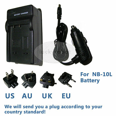 Car/Wall Battery Charger for Canon NB-10L PowerShot G16 G15 G1X SX50 SX40 HS