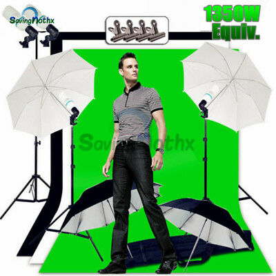 Photo Umbrella 1350W Lighting Black White Green Screen Backdrop Light Stand KIT