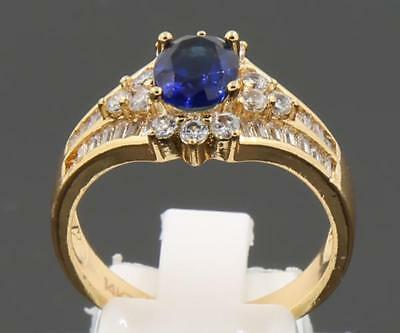 3.41ct Natural Sapphire Solid 14K Yellow Gold Vintage Wedding Rings 8.5#