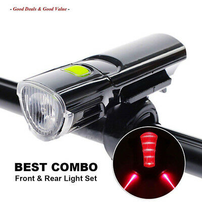 MTB Road Bike Bicycle Cycling Head Front Lights w/ 2 Laser Rear Tail Lamps Set O