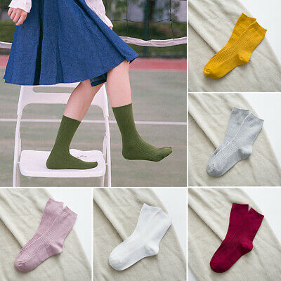 Fashion Women Socks Autumn Winter Solid Warm Middle Tube Cotton Socks