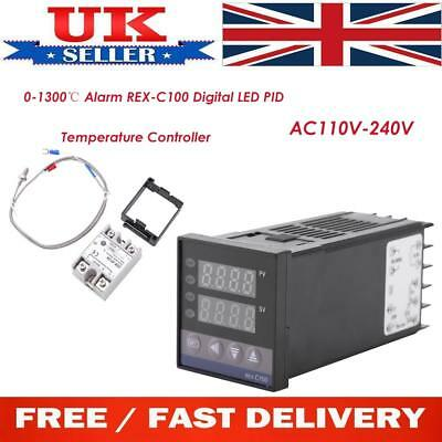 0-1300℃ Alarm REX-C100 Digital LED PID Temperature Controller Kits AC110V-240V