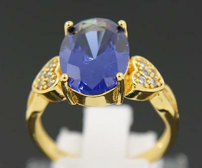 3.98Carat Natural Sapphire 14Kt Solid Yellow Gold Engagement Rings Size 9#