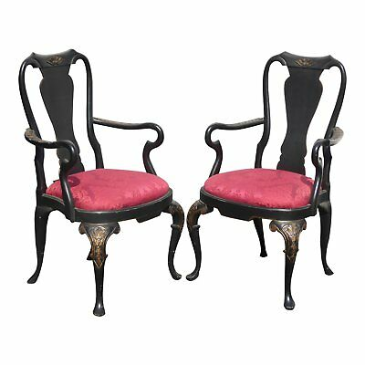 Pair of Vintage Black & Red Ornate Queen Anne Accent Arm Chairs