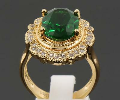 4.78ct Natural Emerald Generous Rings In 14kt Solid Yellow Gold Size 8.0#