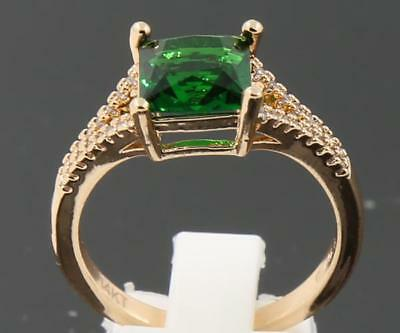 QC 3.47 ct Natural Emerald Solid 14K Yellow Gold Attractive Rings Size 6#