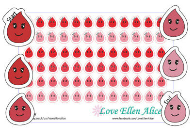 Period planner stickers Monthly planner/diary/calendar stickers 4 for price of 3