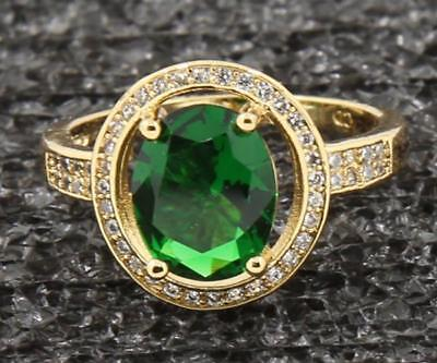 Fine 3.67ct Natural Emerald 14KT Solid Yellow Gold Vintage Wedding Rings Sz 7.5#