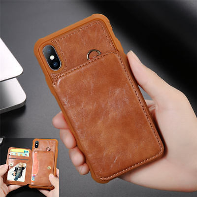 Luxury PU Leather Skin With Card Holder Back Cover Case For iPhone X 8 7 6s Plus
