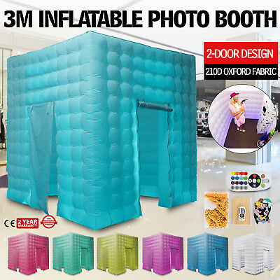 2-Door Inflatable LED Air Pump Photo Booth Tent Colorful Thick Oxford Fabric