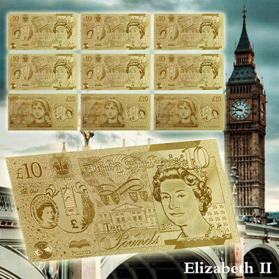 10pcs Gold Banknotes £10 Gold Foil United Kingdom Notes Sets Collectible Gift