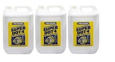 3 x POLYGARD PREMIUM SYNTHETIC SUPER BRAKE & CLUTCH FLUID Dot 4 5L FREE NEXT DAY