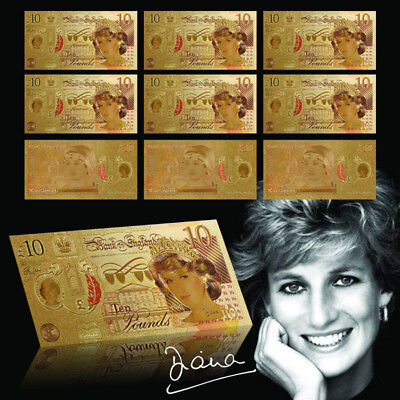 10pcs £10 Diana Colored Banknotes Gold Foil  United Kingdom Notes Sets