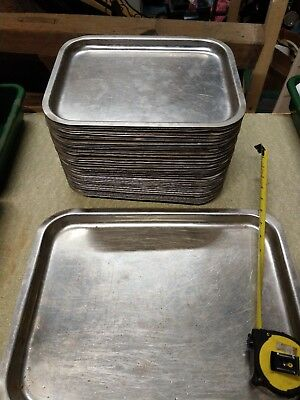2 X STAINLESS STEEL CATERING BAKING TRAYS LENGTH 320mm WIDTH 255mm DEPTH 20mm