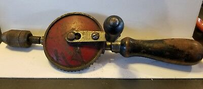Vintage Stanley Hand Crank Drill Egg Beater Style No 1221 Wooden Handles
