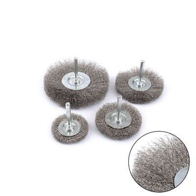 "4Pcs 50-100mm Stainless Crimped Steel Wire Wheel Brush Polishing Set 1/4"" Shank"