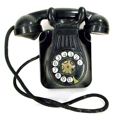 Antique Wired Rotary Dial Phone Wall Mount Electric From Brazil Intact