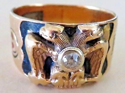 VINTAGE Solid 14k Yellow Gold/Diamond Dbl Eagle Masonic Men's Ring Size 10.5