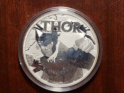 2018 Tuvalu 1 OZ Silver Marvel Series Thor BU in capsule