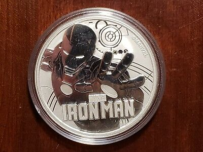 2018 Tuvalu 1 OZ Silver Marvel Series Iron Man BU in capsule