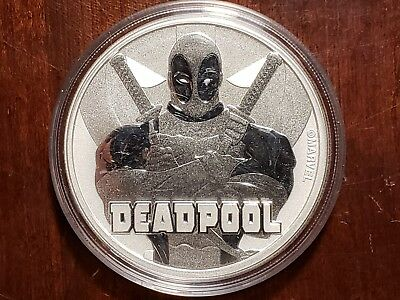 2018 Tuvalu 1 OZ Silver Marvel Series Deadpool BU in capsule