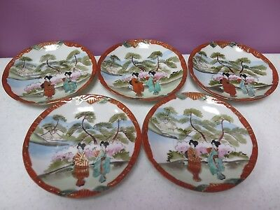 Lot of 5 Vintage Geisha Girl Saucers Hand-painted Nippon Great Condition