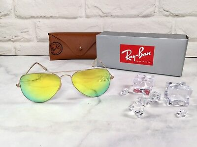c5ea50c73f Ray-Ban RB3025 112 93 Authentic Gold Aviator Sunglasses 58mm Gold Mirror  Lens