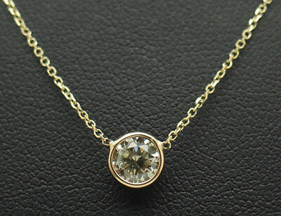 14K Yellow Gold 0.54ct I-SI1 Round Natural Diamond Bezeled Solitaire Necklace-16