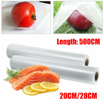 UK 5M Roll Textured Vacuum Food Sealer Vac DIY Sealer Bags Saver Seal Storage