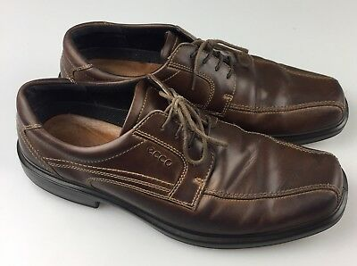 915c2ef6e Ecco Mens Brown Leather Bicycle Toe Oxfords Dress Shoes Size EU 46   US 12