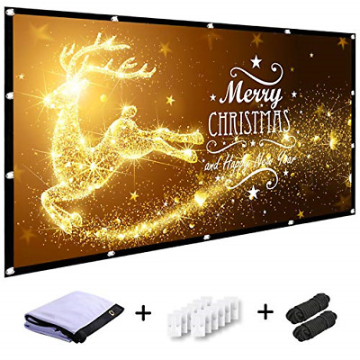 MINC 120 inch Projector Screen 16:9 HD Foldable Anti-Crease Portable Projection