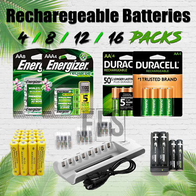 Rechargeable Battery AA/AAA  4/8/12/16 Pack lot Charger Vape NiMH / NiCd / Solar