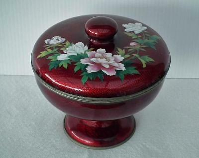 Antique Japanese Signed Ginbari Cloisonné Enamel Akasuke Footed Bowl with Lid